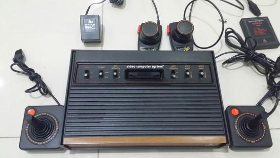 Atari Frente De Madeira Light Sixer 2 Controles 1 Cartucho