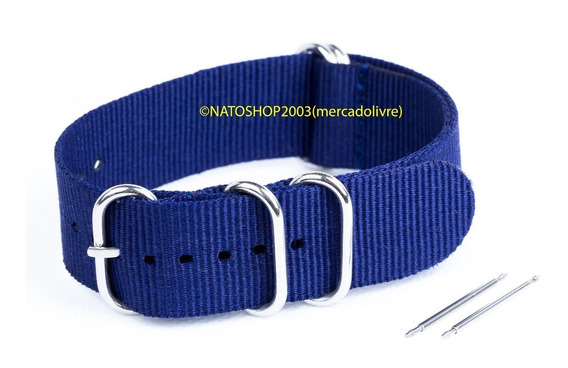 Pulseira Relógio Nato Zulu Nylon 22mm Azul Marinho 5 Anéis
