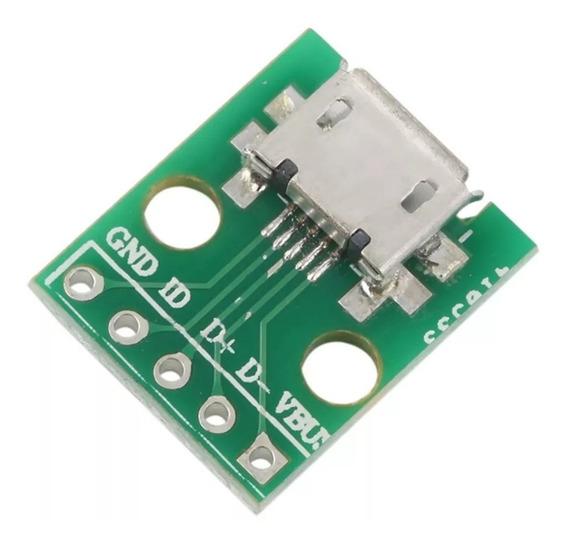 5x Adaptador Conector Micro Usb Fêmea Para Dip 2.54mm