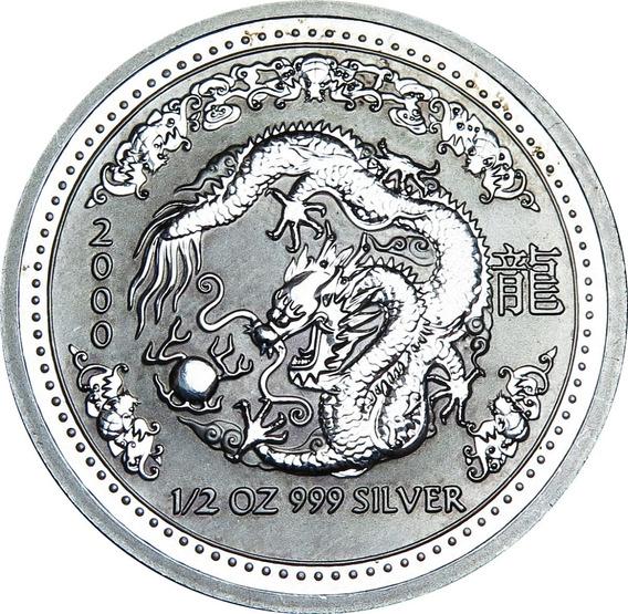 .: Australia 50 Centavos 2000 Año Del Dragón Plata :.