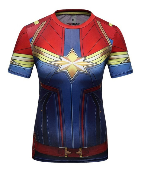 Camisa Compresion Marvel Avengers Capitana Marvel Elite Playera Blusa Mujer Manga Corta Licra Crossfit Gym Rashguard