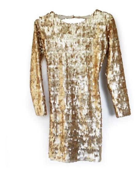 Vestido Dorado De Las Oreiro Talle S