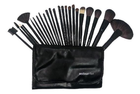 Make Up Brush + Estuche Set 24 Piezas De Brochas Maquillaje