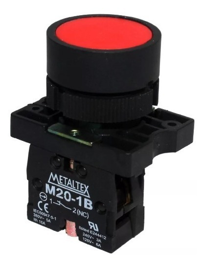 Botoeira Pulsante 22mm Nf Vermelha P20afr-r-1b
