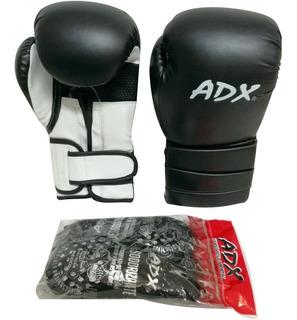 Kit Adx Par De Guantes Box Entrenamiento Poliuretano Negros