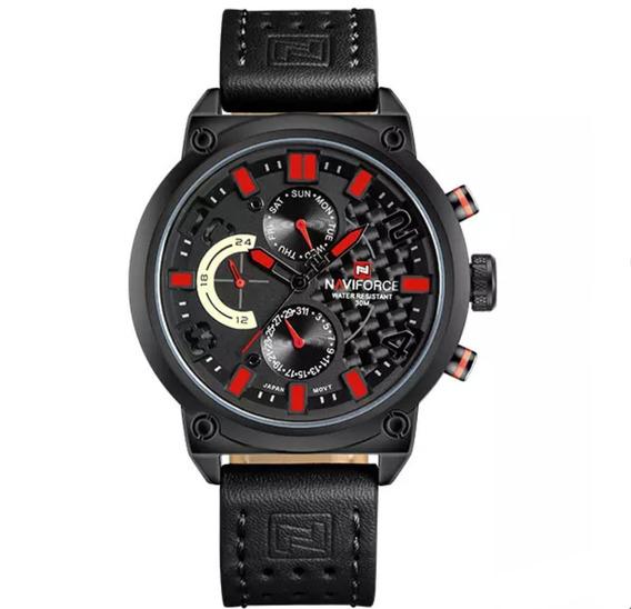 Relógio Masculino Naviforce Quartzo 9068 Pulseira De Couro
