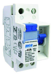 Disyuntor Interruptor Diferencial Bipolar Ac 3ka 2x40a Sica
