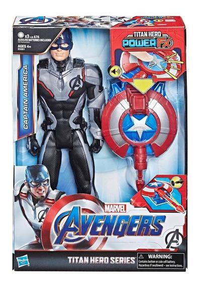 Muñeco Capitan America Con Lanzador Power Fx Original Hasbro