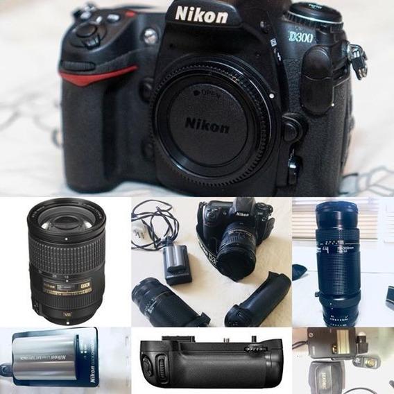 Nikon D300 + Lente 18 200 Mm + Grip + Baterias + Cartão Etc