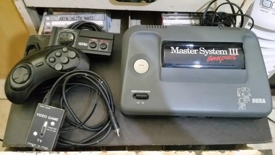 Master System Iii Compact Completo Na Caixa Com 4 Jogos