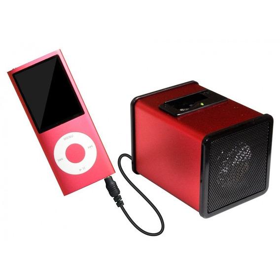 Caixa Acústica Em Formato De Cubo Plug Retrátil P2 Vermelho
