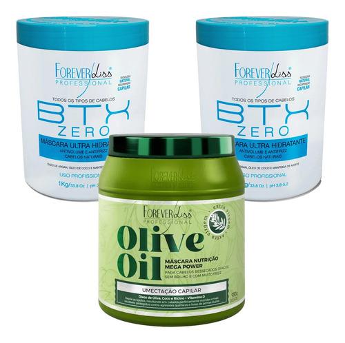 Kit Profissional Forever Liss Mascara Olive Oil E 2 Btx Zero