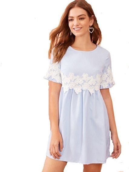 Vestido Casual Para Dama De Rayas Con Aplique De Encaje