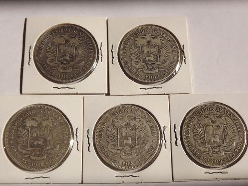 Monedas De Plata. Fuertes. Cinco (5) Bs Bolívares. Colección
