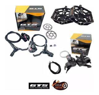 Freio A Disco Hidráulico Foss + Trocadores 7v +pedal Gts