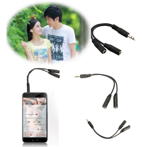 Convertidor Splitter Audio 2 Audifonos 3.5mm 2hembras 1macho