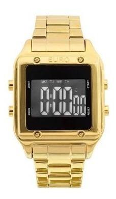 Relógio Feminino Digital Dourado Quadrado Euro Sabrina Sato