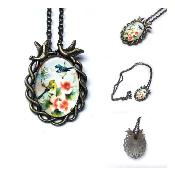 Collar Vintage Diseño Antiguo Flores Y Pajaros