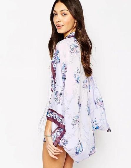 Lindo Kimono Cardigan Feminino Moda Casual Estampa Floral