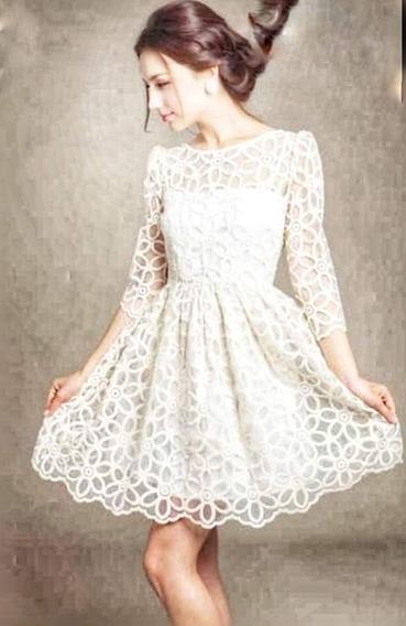 Vestido Branco Noiva Casamento Civil Renda Bordado Mangas