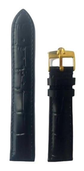Pulseira Omega 20mm Couro Preta Dourada
