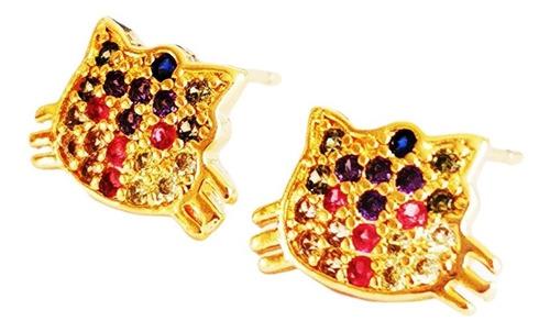Imagen 1 de 3 de Aretes  De Gato Oro Lam. Y Zirconia Calidad Diamante.