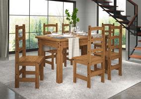 Conjunto Mesa 1,60 Com 6 Cadeiras 903 Caramelo