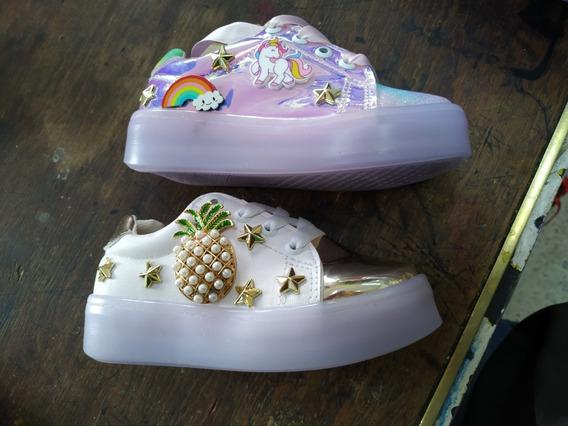 Zapato Tenis Para Niña Con Luz Led Multicolor Al Pisar