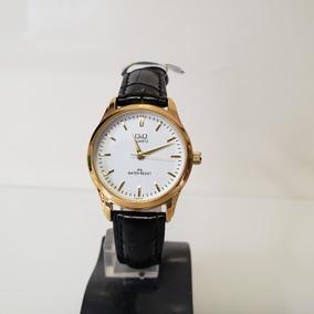 Relógio Feminino Pequeno Couro Preto Fundo Branco Leve Q&q