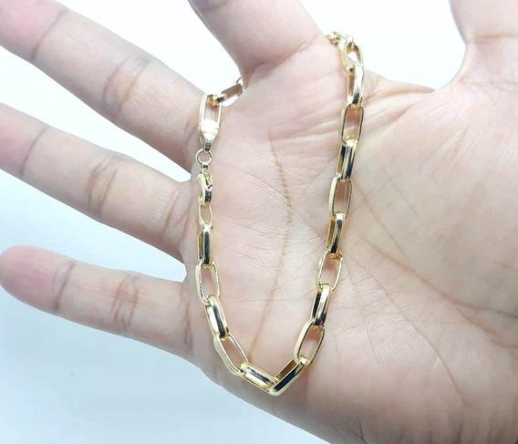 Pulseira Masculina 5 Mm Cadeado Banhada Ouro 18k Sensacional