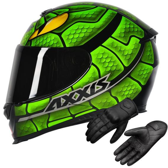 Capacete Axxis Eagle Snake Green Mais Luva De Couro X11