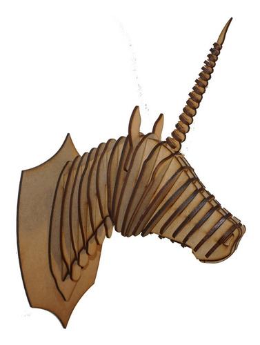 Cabeza De Unicornio Decorativa En Mdf