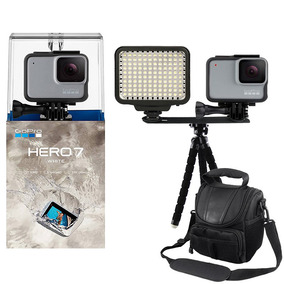 Gopro Hero 7 White Câmera + Iluminador Led + Tripé E Bolsa