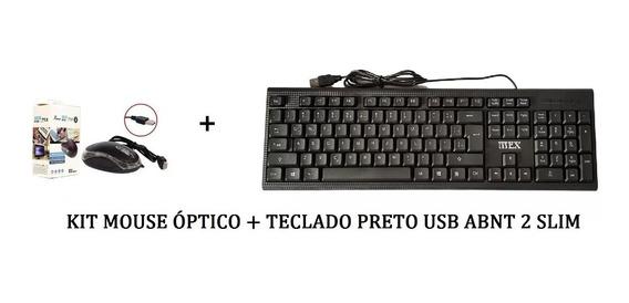 Kit Teclado Abnt Slim + Mouse Optico C/fio 3 Botoes 800dpi