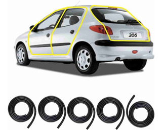 Kit Borrachas 4 Portas E Porta Malas Peugeot 206 / 206 Sw