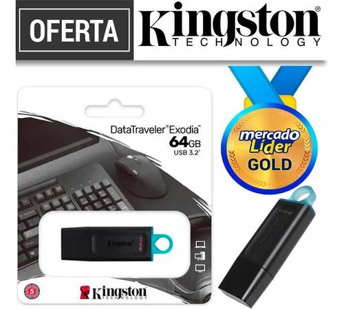 Imagen 1 de 2 de Flash Memory Kingston 64gb 100% Originales Usb 3.2 Inc Iva**