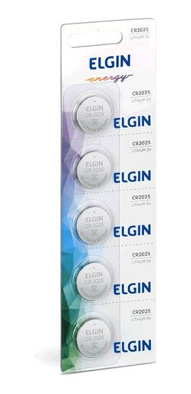 Bateria Elgin Cr2025 3v Moeda Cartela Com 5 Peças
