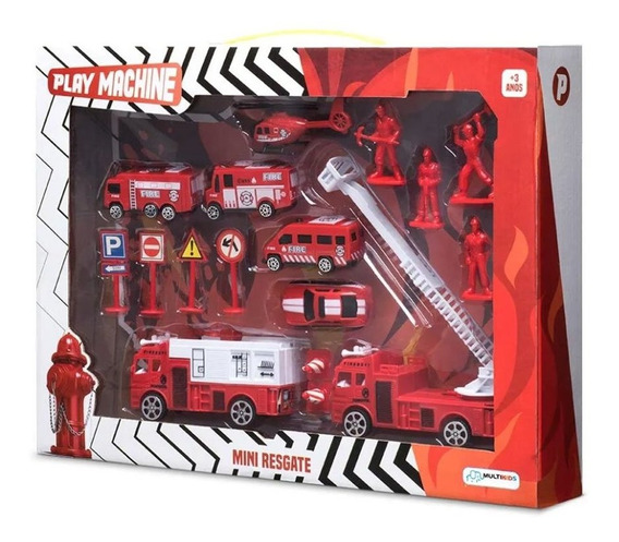 Conjunto Bombeiro Mini Resgate Play Machine
