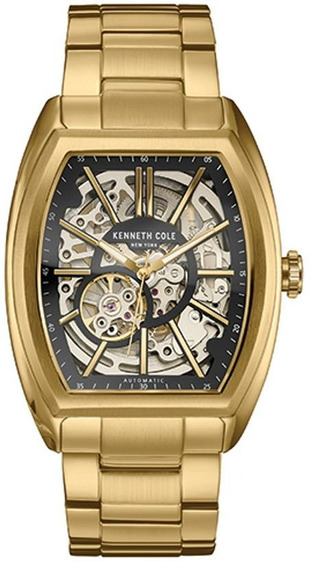 Reloj Kenneth Cole New York Nuevo Importado Skeleton Dorado