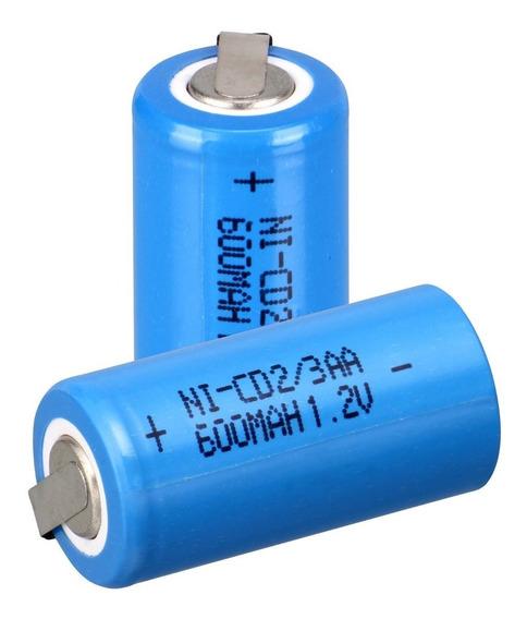 4 Bateria Recarregável Ni-cd 1.2v 600mah 2/3aa C/terminal