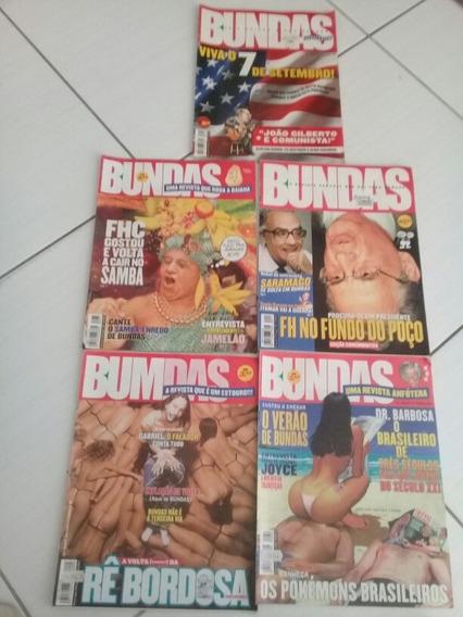 Lote Com 5 Revistas Bundas N° 11, 13, 25, 30 E 37 De 1999