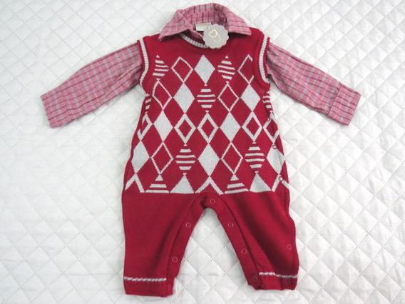 Conjunto Baby Bebê Menino Macacão E Camisa Manga Longa Para Frio Inverno Tam. M Parcela Em 12x Sem Juros E Frete Grátis