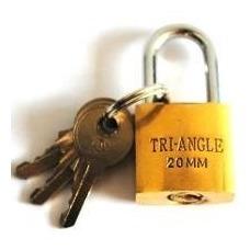 Cadeado Dourado 20mm C/3 Chaves Tri-angle