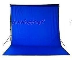 1 Tecido 3x3 Azul + Suportefundo Infinito Estúdio Fotográfico Youtuber Foto Chroma Key Igreja Ringligth Escola Qqs