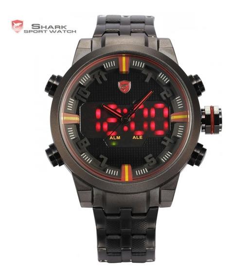 Relógio Shark Tubarão Dual Time Digital Led Aço Inoxidável