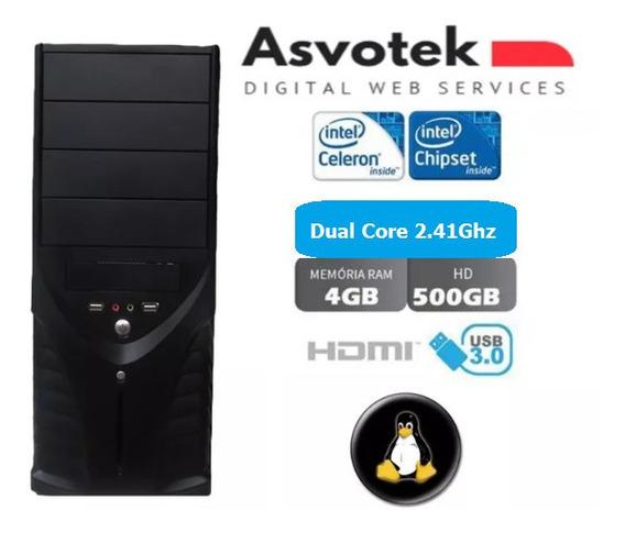 Computador Intel Celeron Dual Core 4gb 500gb Linux Barato