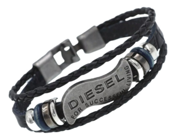 Pulseira Diesel Couro Masculino Bracelete Tribal Trançado!!