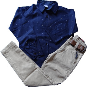 Calça Jeans Infantil Masculina + Camisa Social Meninos