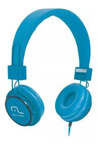 Fone De Ouvido Headphone Multilaser C/ Microfone Azul Ph089