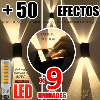Difusor Interior Regulable Multidireccion C/ Led 6w Pack X8 Iluminacion Luz Indirecta Bidireccional Hierro Adorno Efecto